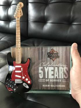 House of Blues Rockstar Award with Custom Promo Mini Guitar by AXE HEAVEN®