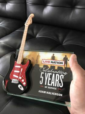 Live Nation Rockstar Award with Custom Promo Mini Guitar by AXE HEAVEN®