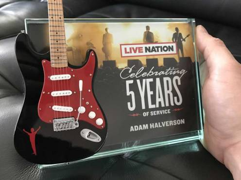Live Nation Rockstar Award with Custom Promo Mini Guitar by AXE HEAVEN®