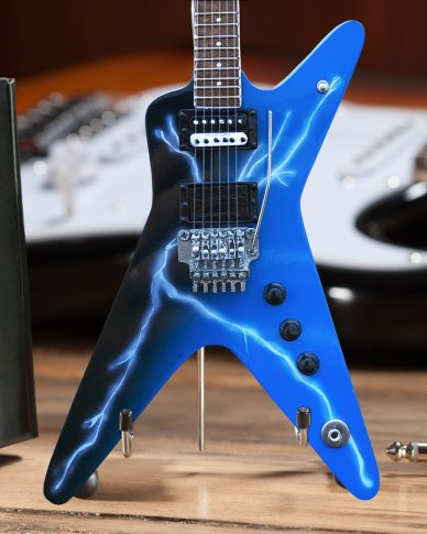Licensed Dean Dimebag Dean FROM HELL Lightning Bolt Mini Guitar Model (Close-up) by AXE HEAVEN®