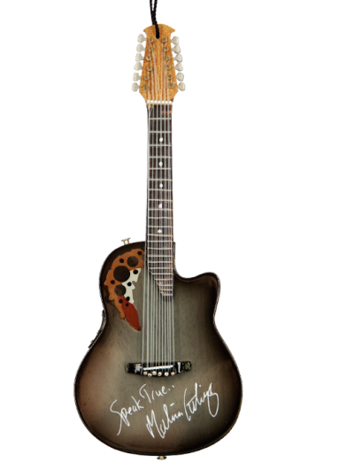 "Limited Edition Custom Replica 6"" Ornament (Front) of Melissa Etheridge's Iconic Ovation Guitar by AXE HEAVEN®"