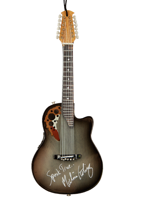 """Limited Edition Custom Replica 6"""" Ornament (Front) of Melissa Etheridge's Iconic Ovation Guitar by AXE HEAVEN®"""