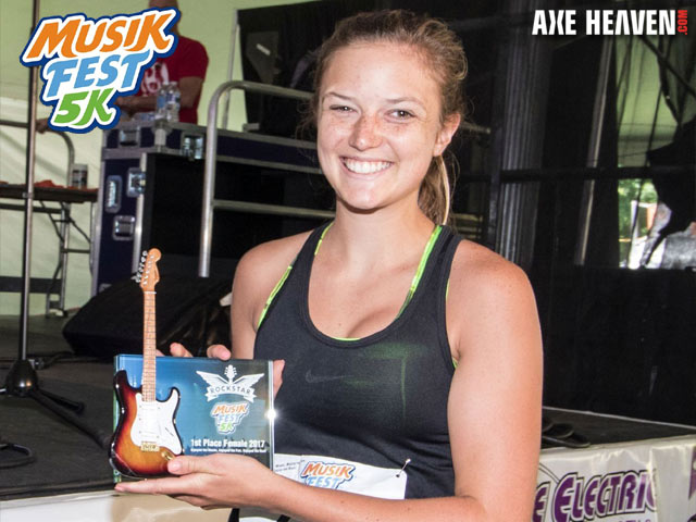 Rockstar Glass Frame Award with Mini Guitar by AXE HEAVEN® for 1st Place Female 2017 MusikFest 5K