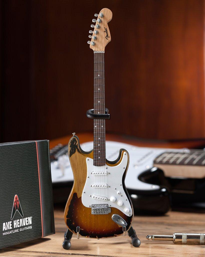 Officially Licensed Kenny Wayne Shepherd Mini Fender™ Strat™ Vintage 1961 Sunburst Guitar Model by AXE HEAVEN®