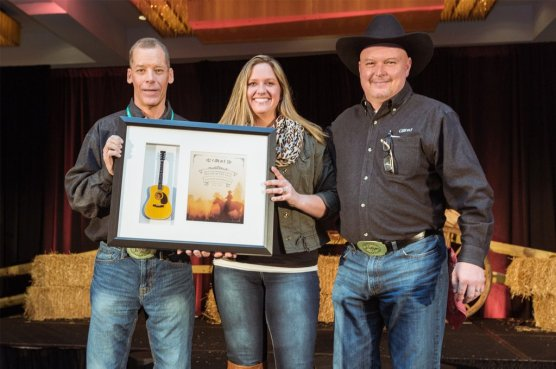 """22"""" x 19"""" Shadowbox Award with Acoustic Mini Guitar and Personalized Country-Themed Graphic"""