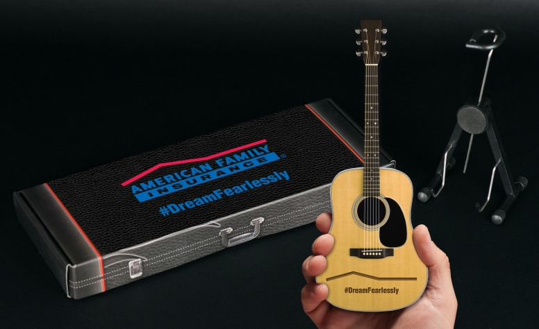 Laser-Engraved Acoustic Mini Guitar for American Family Insurance & Gift Box with Custom Label