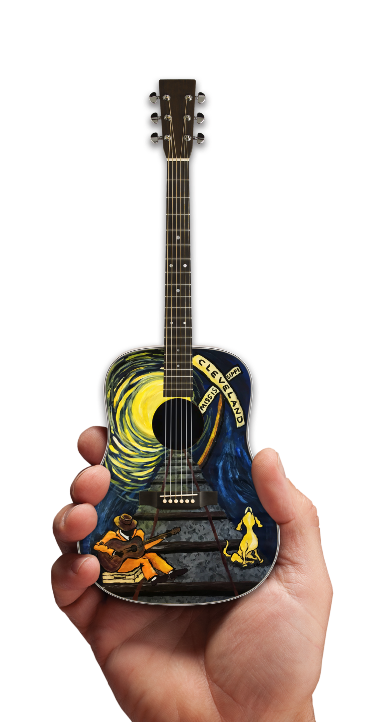 Acoustic Mini Guitar with Original Art by Lisa Miller for the City of Cleveland, Mississippi Railroad Heritage Museum