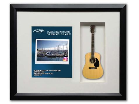"22""_x 19"" Shadowbox with Acoustic Mini Guitar Presented to Lyle Lovett"