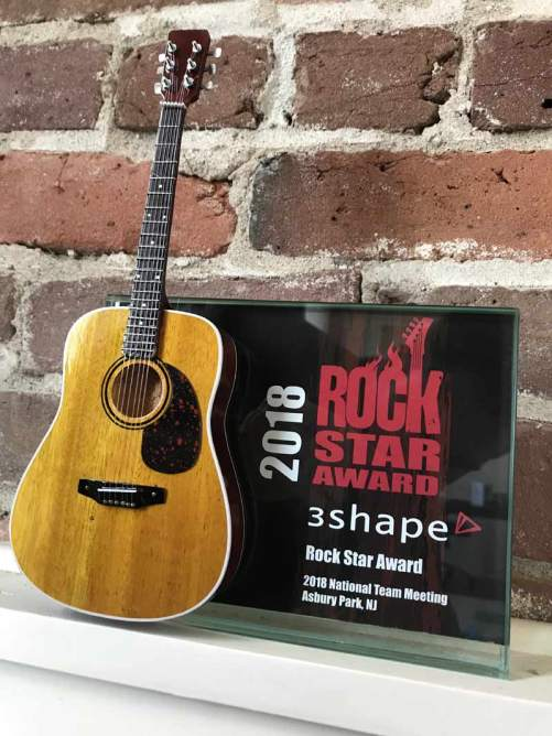"Rockstar Award - 7"" x 5"" Glass Frame with Acoustic Mini Guitar"