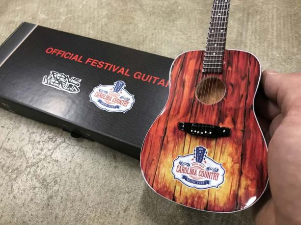 Carolina Country Music Fest Custom Promo Mini Guitar by RonzWorld & Gift Box with Custom Label