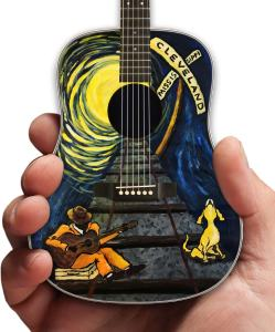 Acoustic Mini Guitar with Original Art by Lisa Miller as Souvenir Merchandise for the City of Cleveland, Mississippi Railroad Heritage Museum.