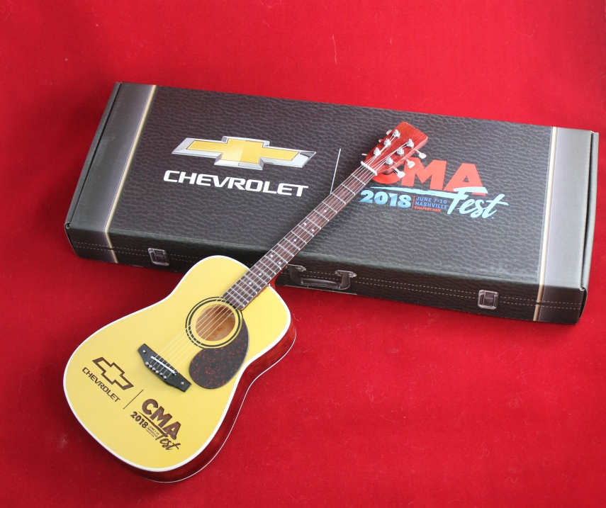 Laser-Engraved Acoustic Mini Guitar for Chevrolet at CMA Fest & Gift Box with Custom Label
