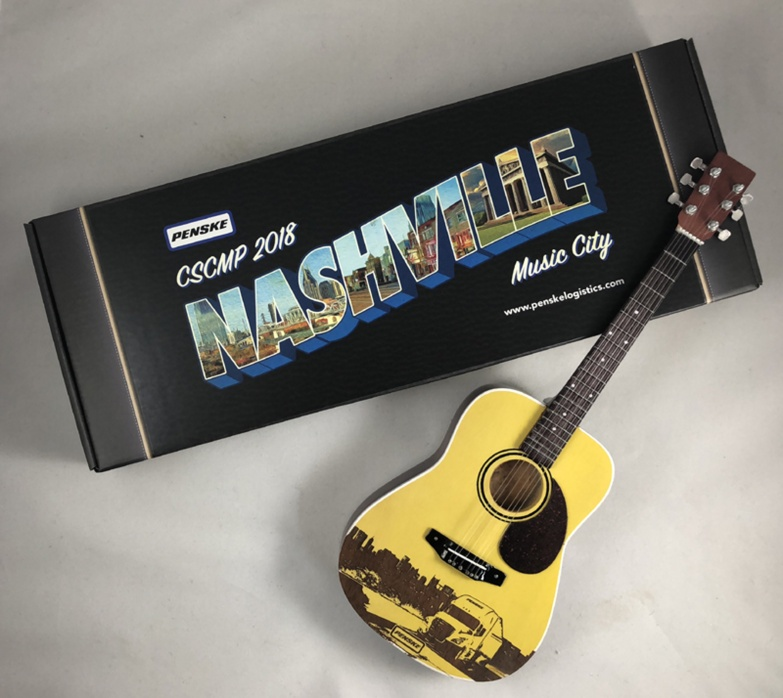 "Laser-Engraved Acoustic Mini Guitar for Penske Event in Nashville ""Music City"" Tennessee  & Gift Box with Custom Label"