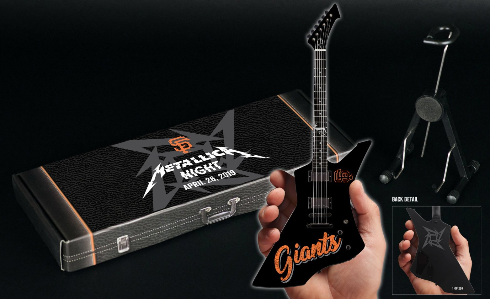 SF Giants 2019 Metallica Night Custom Shape Mini Guitar and Gift Box Promo Giveaway