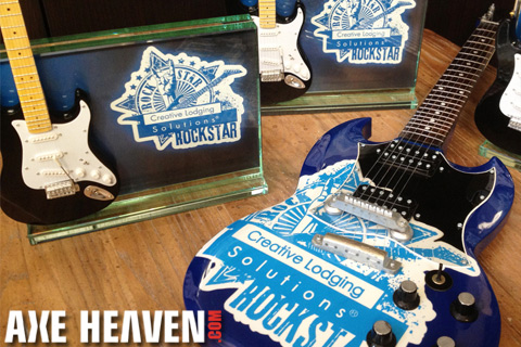 Creative Lodging Solutions Custom Rock Star Trophy / Award – Glass Plaque Stand
