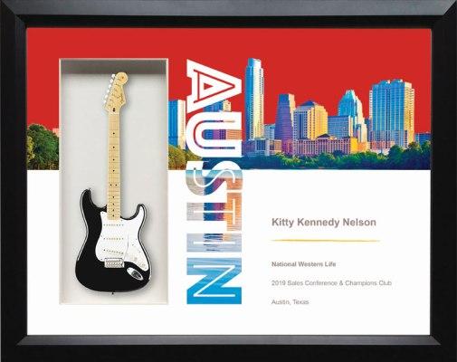"22""; x 19"" Austin Shadow Box Rockstar Guitar Award"