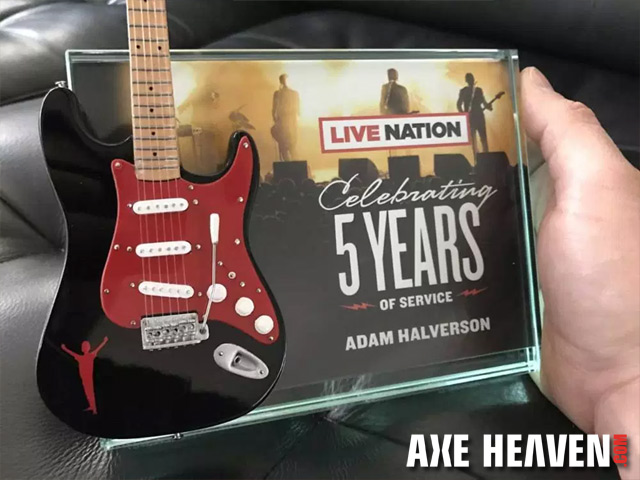 "Custom 10"" Mini Guitar with 7"" x 5"" Glass Frame Award by AXE HEAVEN®"