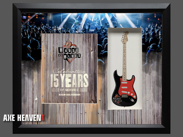 "Custom Mini Guitar with 22"" x 19"" Shadowbox Award by AXE HEAVEN®"
