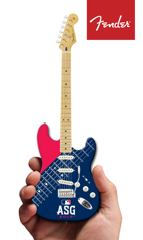 Major League Baseball ASG 2019 Fender™ Strat™ Promo Mini Guitar by AXE HEAVEN®