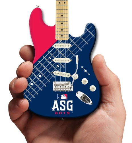 Major League Baseball ASG 2019 Fender™ Strat™ Promo Mini Guitar by AXE HEAVEN® Close-Up