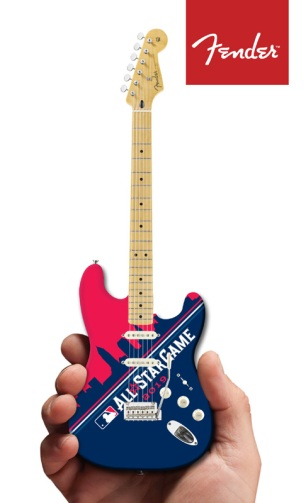 MLB 2019 All-Star Game Cleveland Skyline Fender™ Strat™ Mini Guitar by AXE HEAVEN®