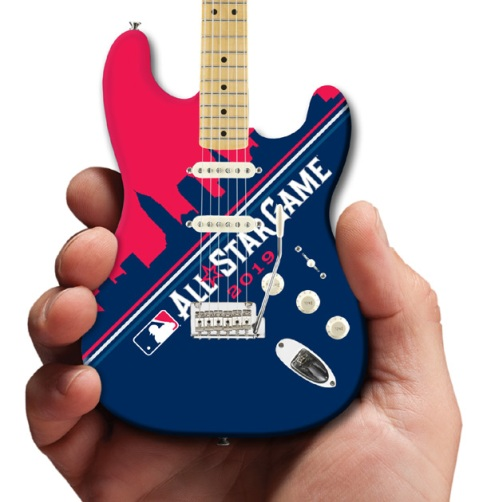 MLB 2019 All-Star Game Cleveland Skyline Fender™ Strat™ Mini Guitar by AXE HEAVEN® Close-Up