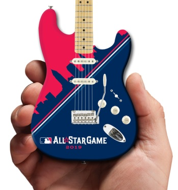 MLB All-Star Game Cleveland 2019 Fender™ Strat™ Mini Guitar by AXE HEAVEN® Close-Up