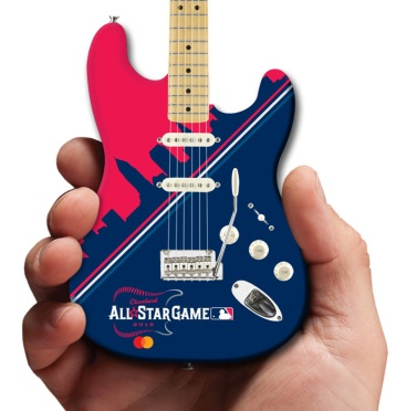 MLB All-Star Game Cleveland 2019 Fender™ Strat™ Mini Guitar by AXE HEAVEN® Mastercard Close-Up