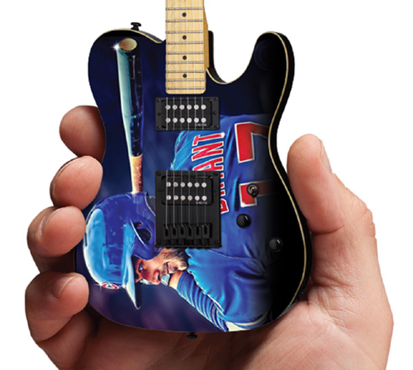 Chicago Cubs Kris Bryant Mini Guitar Replica Collectible by AXE HEAVEN® Close-Up