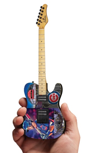 Chicago Cubs Wrigley Field Schecter Mini Guitar Replica Collectible by AXE HEAVEN®