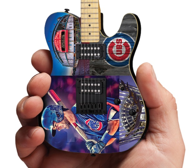 Chicago Cubs Schecter Mini Guitar Replica Collectible Close-Up by AXE HEAVEN®