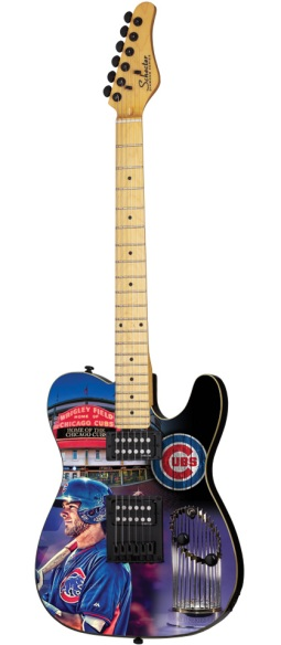 Chicago Cubs Schecter Mini Guitar Replica Collectible by AXE HEAVEN®