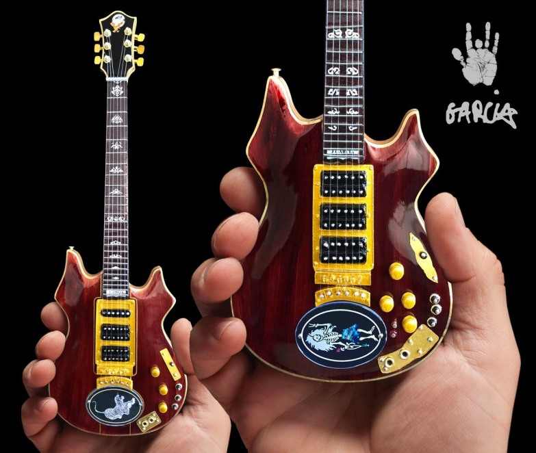 Officially Licensed Jerry Garcia™ Tiger™ and Rosebud™ Mini Guitars by AXE HEAVEN®