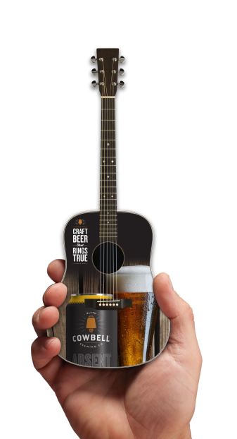 Cowbell Brewing Co. Craft Beer Rings True Promo Acoustic Mini Guitar