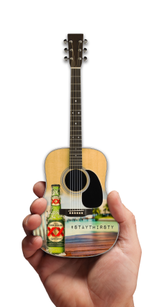 Dos Equis Beer Natural Finish and Full Color Promotional Acoustic Mini Guitar by AXE HEAVEN®