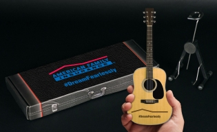 American Family Insurance Custom Promotional Package for Laser Engraved Acoustic Mini Guitar by AXE HEAVEN®