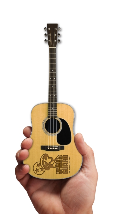 Virtual of Tennessee National Guard Laser-Engraved Acoustic Mini Guitar by AXE HEAVEN®