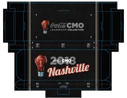 Custom Gift Box Layout (Top & Bottom) for Coca-Cola® Nashville Promotional Marketing Campaign Featuring Fender™ Strat™ Mini Guitar Giveaways by AXE HEAVEN®