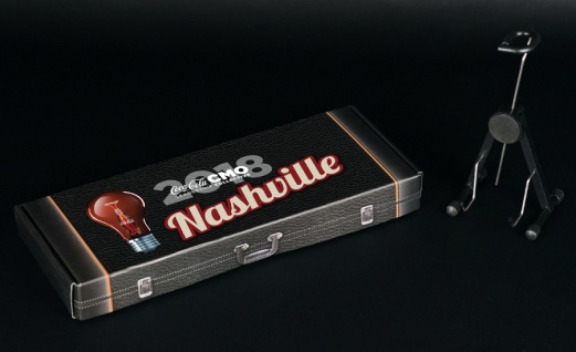 Custom Gift Box for Coca-Cola® Nashville Promotional Marketing Campaign Featuring Fender™ Strat™ Mini Guitar Giveaways by AXE HEAVEN®