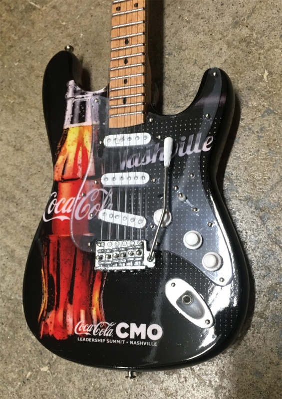 Coca-Cola® Promo Fender™ Stratocaster™ Mini Guitar by AXE HEAVEN® - Front Close-Up