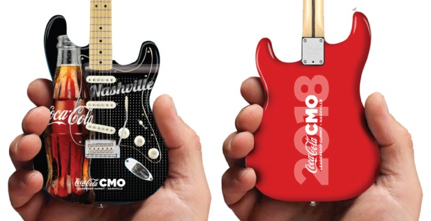 Coca-Cola® Promo Fender™ Strat™ Mini Guitar by AXE HEAVEN® - Front & Back Close-Up