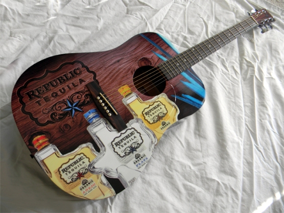 Republic Tequila Custom Promo Acoustic Mini Guitar by AXE HEAVEN®