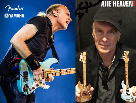 Billy Sheehan - an AXE HEAVEN® Exlusive Artist - Holding Officially Licensed Miniature Bass Guitars by AXE HEAVEN®