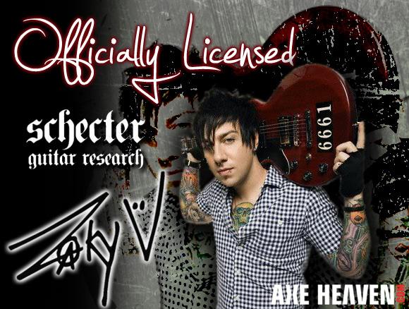 Zacky Vengeance - an AXE HEAVEN® Exlusive Artist - Holding Original 6661 ZV Custom Schecter Guitar