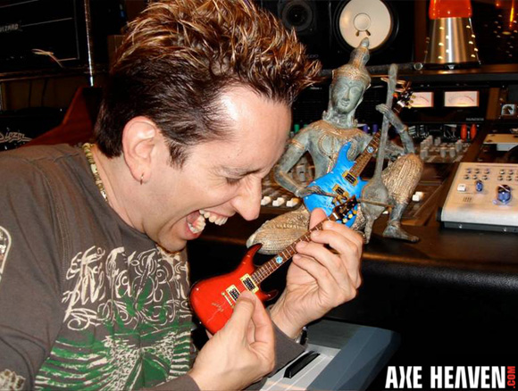 Neil Zaza Pretends to Play Licensed Miniature Guitar by AXE HEAVEN®