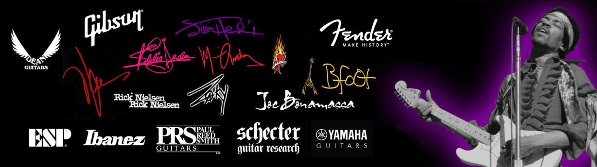 Logos of AXE HEAVEN Officially Licensed Guitar Brands and Rockstars