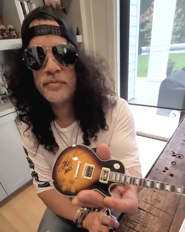 Slash Signs Officially Licensed Gibson® Les Paul Mini Guitar Replica Collectible by AXE HEAVEN®