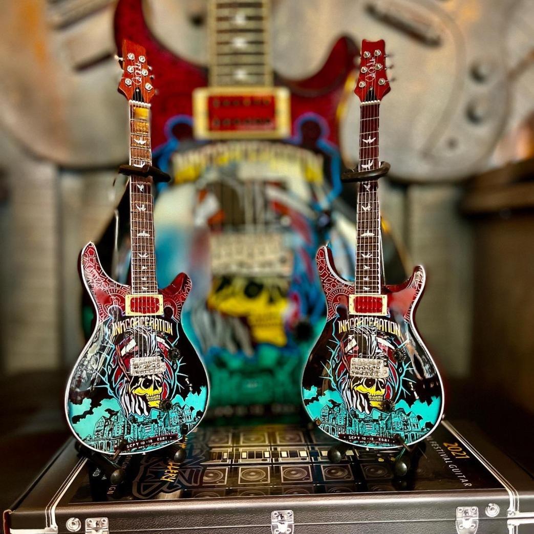 Inkarceration 2021 Custom Guitar by RonzWorld and Replica Mini Guitars by AXE HEAVEN®